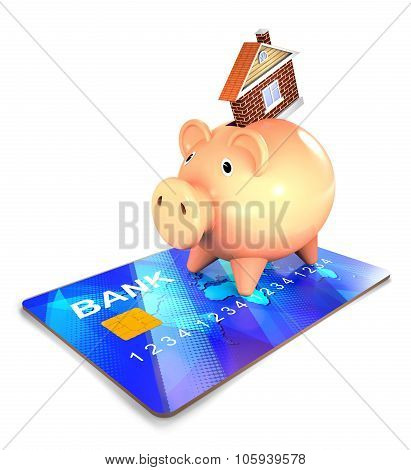 Piggy Bank And Bank Card And House.