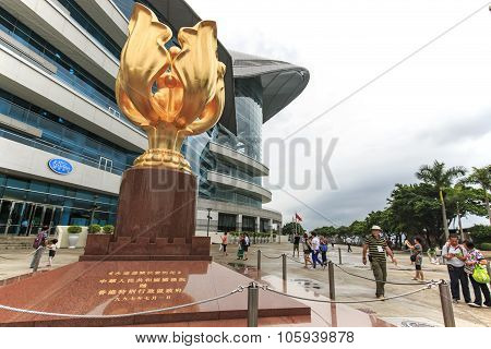 Hong Kong, China - August 14,2015: Tourists Walking In The Golden Bauhinia Square An Open Area In No