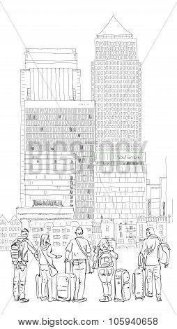 Canary Wharf business area and tourists, London