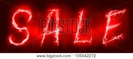 Sale sign made of electric lighting, thunder storm effect.