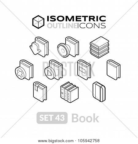 Isometric outline icons set 43