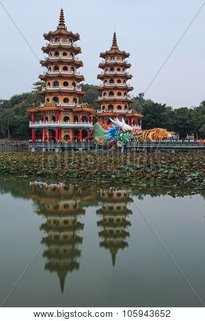 Dragon And Tiger Pagodas At Lotus Pond, Kaohsiung, Taiwan