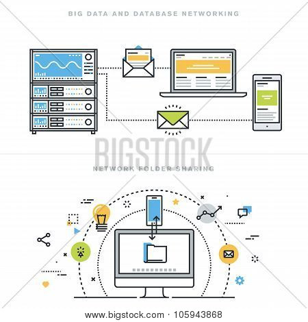 Flat line design vector illustration concepts for database networking and network folder sharing
