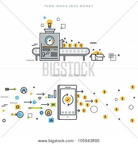 Flat line design vector illustration concepts for online earning and business ideas realization
