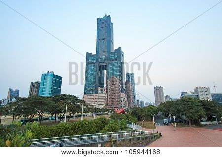 Kaohsiung, Taiwan - December 18,2014: Sunset Over Tuntex Sky Tower. The Structure Is 378 M High. Con