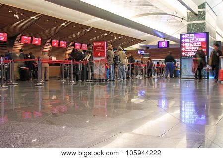Taipei, Taiwan - January 9, 2015: People At The Emirates Counters Inside The Taiwan Taoyuan Internat