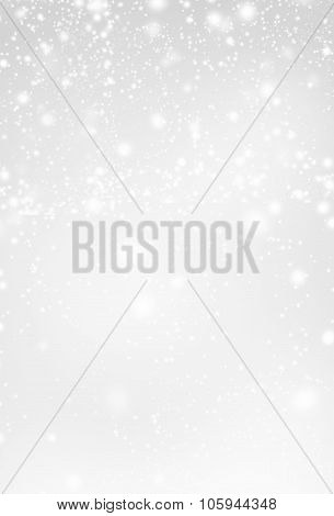 Abstract  Silver Christmas Background With White  Lights. Festive  Background With Falling Snow. Pos