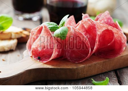 Delicious Salami With Basil And Wine
