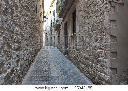 Street In The Medieval Quarter Of Girona, Spain