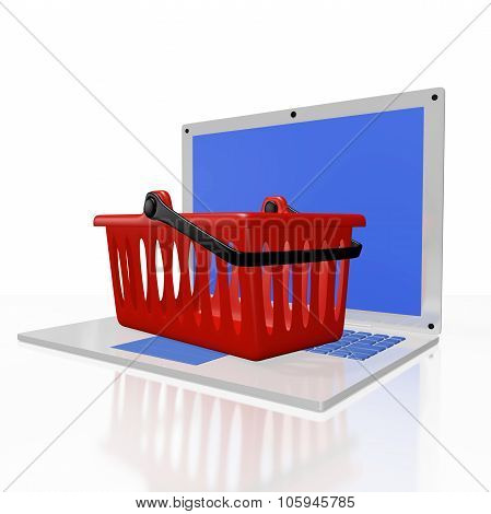 Plastic Shopping Basket On Laptop