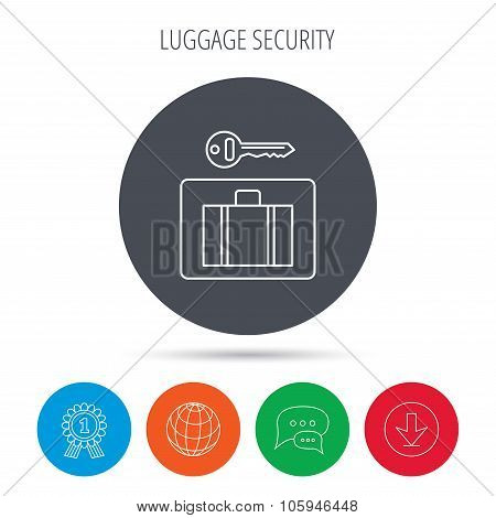 Luggage icon. Baggage security sign.