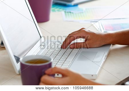 Female Designer Hands Holding Cup Of Hot Beverag