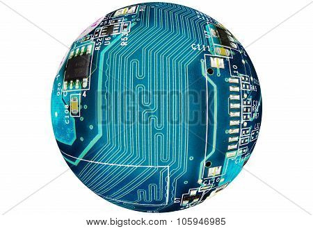 Circuit globe on white background