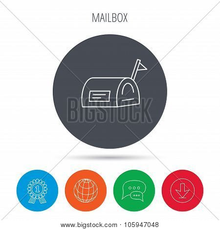 Mailbox with flag icon. Post email box sign.