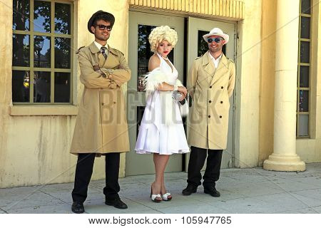 Impersonator Marylin Monroe And Boys In Barselona. Marylin Was An American Pop Icon Of 60X, Actress,