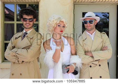 Barcelona Spain - June 16: Impersonator Marylin Monroe And Boys In Barselona Spain 16 June 2013.