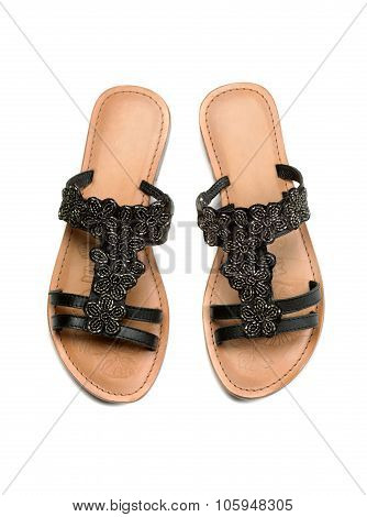 A Pair Of Leather Women's Sandals. Top View.