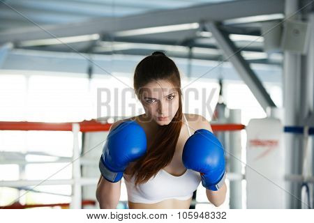 Attractive Female Punching  Bag With Boxing Gloves On