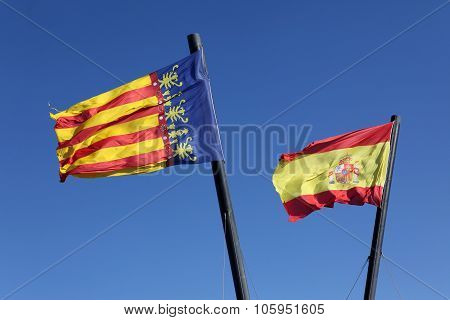 Flag  Spain And Comunidad Valenciana, Region In Spain, Moving In The Wind