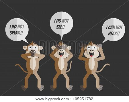 The Three Monkeys,i Do Not See,i Can Not Hear,i Do Not Speak