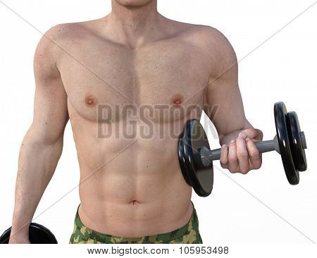 Man Lifting Weights as a Fitness Concept Art