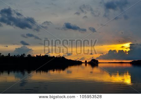Romantic Twilight. Pongoma Lake. Karelia, Russia