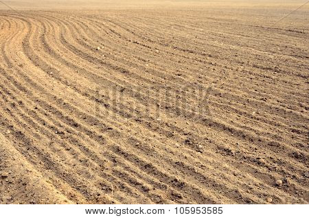 Arable Land At Harvest Time In Farmland