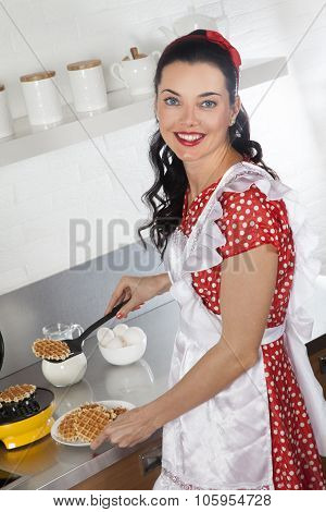 Pretty Housewife Baking Waffles