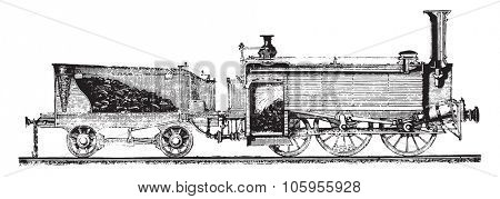 The locomotive and tender, ripping, vintage engraved illustration. Magasin Pittoresque 1877.