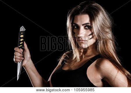 Military Woman With A Knife