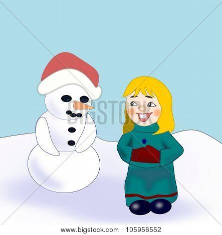 Funny Girl and Snowman