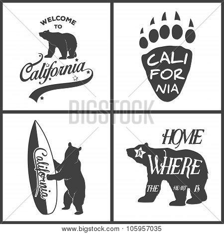 Set of vintage monochrome california emblems and design elements.