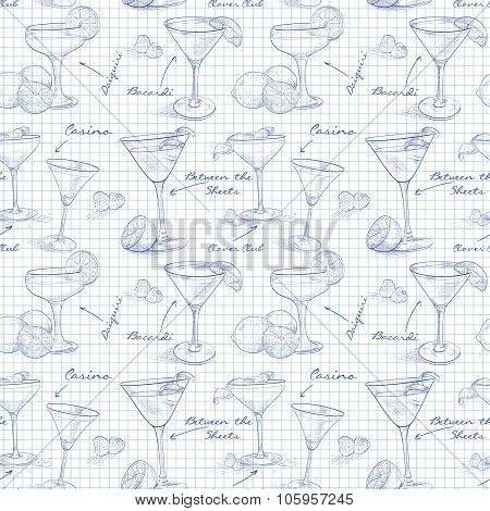 scetch pattern unforgettables cocktails on notebook page