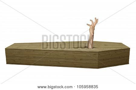 Undead zombie hand breaking out of a wood coffin on Halloween
