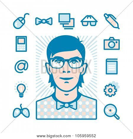 Nerd with Fat Line Icons for web and mobile. Modern minimalistic flat design elements of geeks things and conception of mind shake