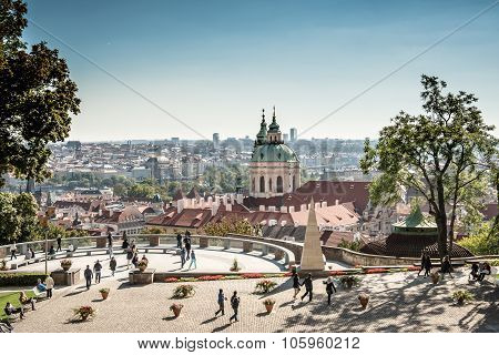 Prague, Czech Republic - October 10, 2015: Tourists At Viewpoint In Prague: City View And St. Nichol