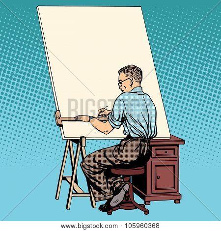Scientist designer asian engineer working drawings