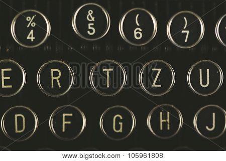 Retro Toned Vintage Typewriter Keys