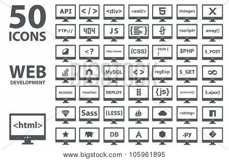 Vector collection of web development icons: html, css, tag, server, programming language, script, st