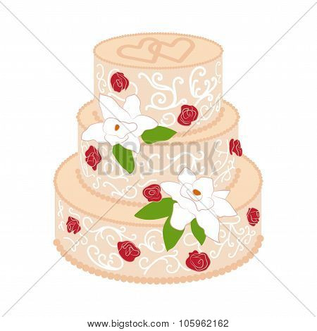 Wedding cake with cream red roses