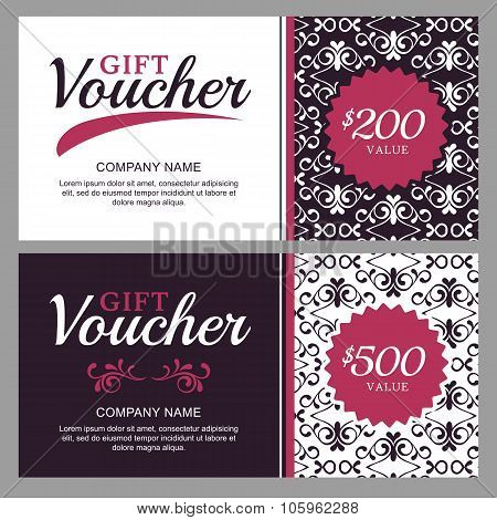 Vector Gift Voucher With Black And White Ornament Background.