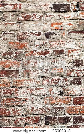 Old Uneven Decayed Whitewashed Shabby Brick Wall As Abstract Texture Background