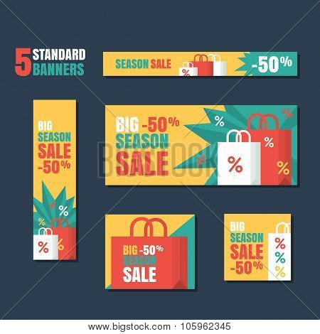 Set Of Standard Vector Banners Template. Season Sale Background, Flat Colorful Illustration.