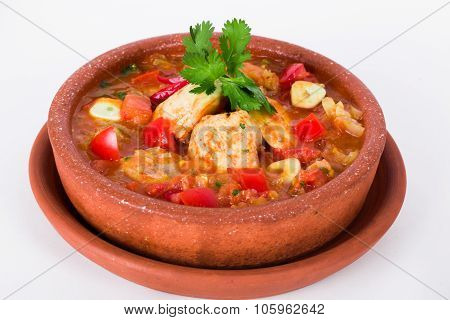 meat chicken, with vegetables carrots potatoes pot cardamom