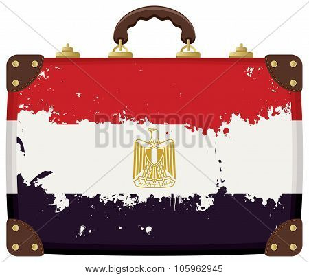 Suitcase With A Egyptian Flag