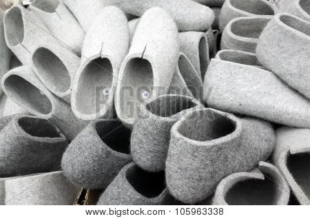Pile Of Gray Traditional Felt Slippers