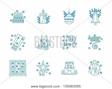 Flat blue line New Year vector icons set