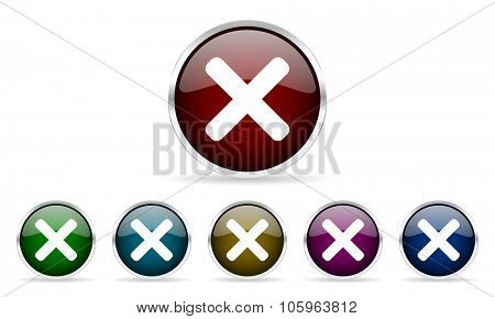 cancel colorful glossy circle web icons set