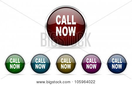 call now colorful glossy circle web icons set