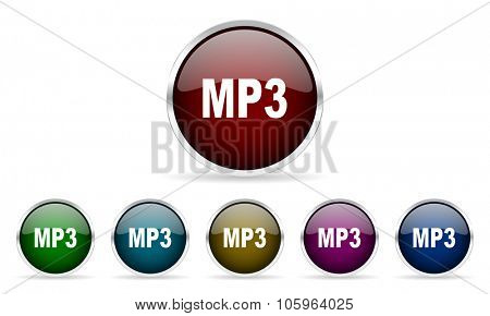 mp3 colorful glossy circle web icons set